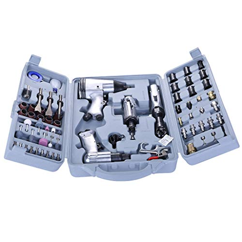 (Toolkit, pollyhb Pneumatic Tool Kit with Storage Box Pneumatic Impact Wrench Pneumatic Mould Auto repair tool Set of 71 Pieces)