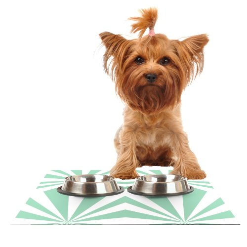 Kess InHouse Project M Starburst Mint  Feeding Mat for Pet Bowl, 18 by 13-Inch