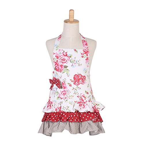 Floral Pattern Three Ruffles Kid Girl Apron,100% Cotton Children Apron,Practical Front Pockets Kitchen Apron Great Gift for Kid Girl Daughters (Red Flower & White Background) ()