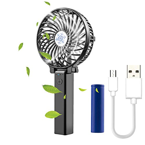 - Small Handheld Battery Operated Face Fan with 2 Batteries, Rechargeable & Portable, JAMSWALL Folding Design (White)