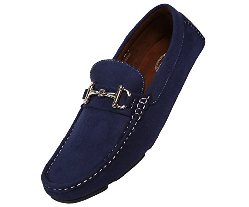 Amali Mens Plush Microfiber Faux Suede Slip On Loafer Driving Shoe with Buckle Style Walken Blue (Loafers Blue)