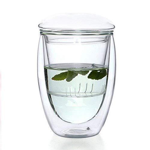 Double Wall Glass Tea Infuser Cup, Filtering Tea Maker Borosilicate Glass Mug, 12oz Insulated Glass Egg Shaped Teacup with Lid and - Filtering Mug Tea