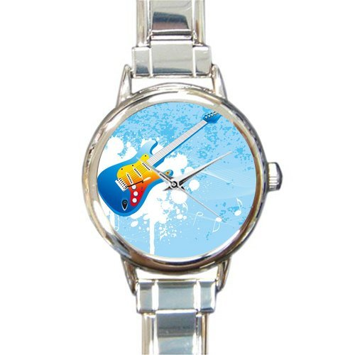Hot Sale Christmas Day Gift Watch Distinctive Blue Guitar And White Music Notes Round Italian Charm stainless steel Watch