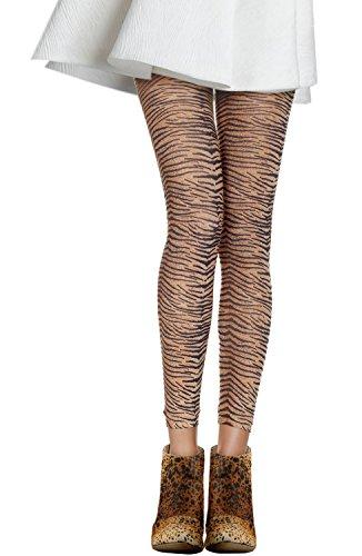 Opaque Tiger Print Footless Tights, Tiger-OS -