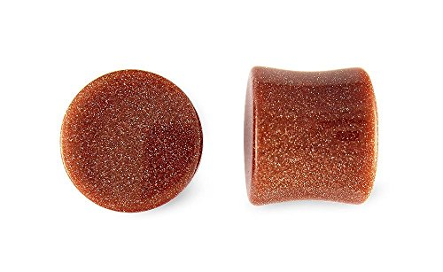 Pair Red Goldstone Glass Plugs 7/16 inch 11mm