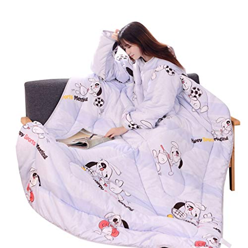 Winter Lazy Quilts with Sleeves Comfy Quilted Wearable Soft Blanket Warm Cozy Bed Quilt Comforter Sets Duvet Cover (B)