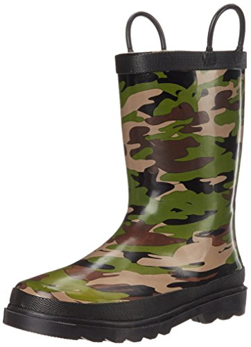 (Western Chief Boys Waterproof Printed Rain Boot with Easy Pull On Handles, Camo, 13 M US Little)
