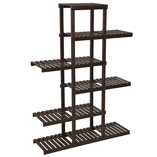 SONGMICS 6-Tier Bamboo Plant Stand, Flower Display Rack, Holds 12 Pots, Hollow-Out Shelving Unit, Indoor Plant Pot Holder, for Living Room, Balcony, Brown UBCB95BR