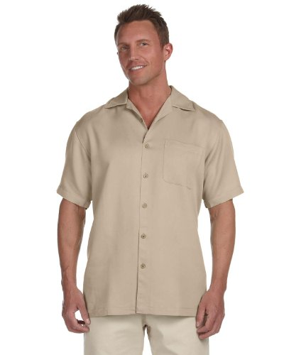 Harriton Men's Bahama Cord Camp Shirt - XXX-Large - Sand