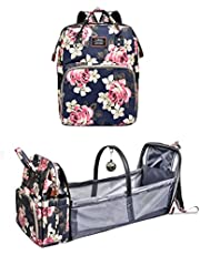 Baby Diaper Backpack,Large Capacity with Foldable Travel Bassinet,Crib,Shade Cloth,Mattress,Stylish Patterned with Peonies