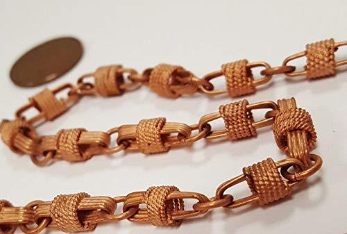 3 FEET Vintage Copper Coated Steel GROOVED Wrapped Oval Fancy Link Chain