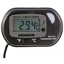 Corner Biz Aquarium - Digital LCD Screen Sensor Thermometer Wired Aquarium Fish Tank Black