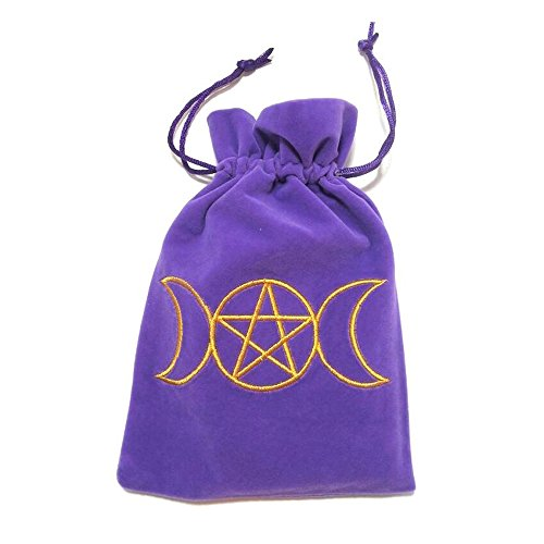 (Triple Moon Goddess Embroidered Purple Luxury Velvet Drawstring Tarot / Oracle Card Bag)