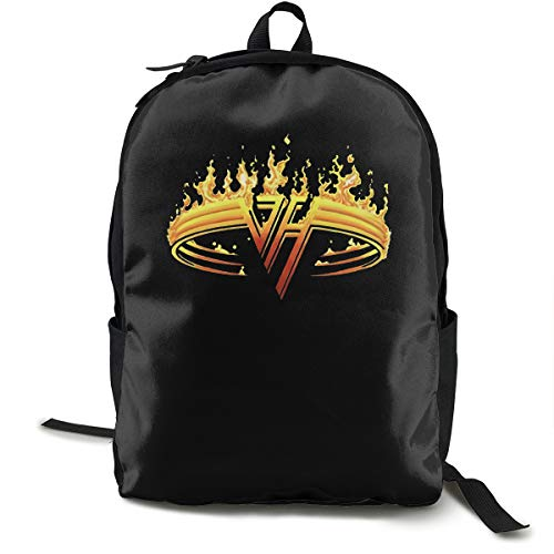 Van Halen Backpack for Women Men, Canvas College Student Rucksack Fits 15.6 Inch Laptop and Notebook, Daypack for Travel Outdoor Camping