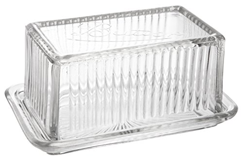 Classic Casual Country Pressed Glass Butter Dish with Lid, Large, 6-inch ()