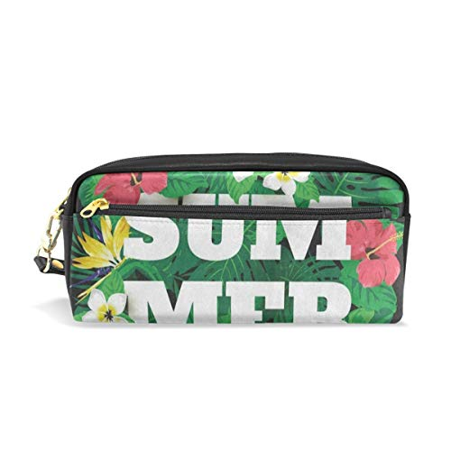 Pen Case Colorful Summer Palm Tree Flower Floral Pencil Pouch Makeup Cosmetic Travel School Bag