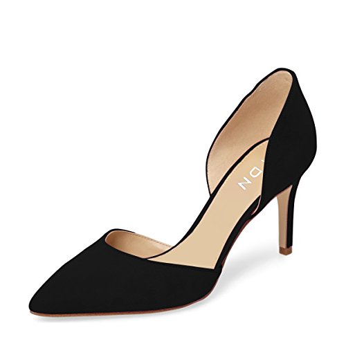 (YDN Women Classic Low Heels D'Orsay Pumps Suede Pointed Toe Slip On Dressy Stilettos Shoes 7 (Black))
