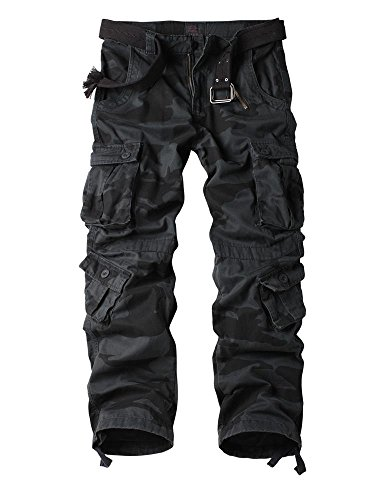 AUSZOSLT Men's Cotton Casual Military Army Cargo Camo Combat Work Pants Black Camo 38 ()