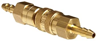 "Brass Double Shut-Off Quick Connect Tube Fitting, Barbed Coupler, 3/16"" Tube ID, with Buna-N Seal"