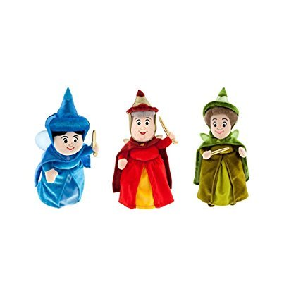 "Disney Fairies Merryweather, Fauna, Flora - Aurora Sleeping Beauty Fairy - Set of 3 Mini Plush (10""- 11"" H)"