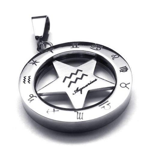 KONOV Stainless Spinner Necklace Aquarius