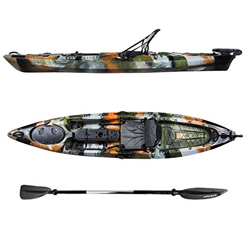 Elkton Outdoors Auklet Sit On Top Fishing Kayak, Multiple Sizes. with SmartTrack Rudder Steering System, Aluminum Paddle, Rod Holders and Dry Storage Compartment