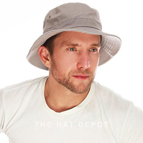 THE HAT DEPOT 100% Cotton Canvas Packable Summer Travel Bucket Hat (L/XL, Grey) - Mens Bucket Hats