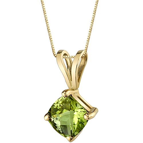 14 Karat Yellow Gold Cushion Cut 1.00 Carats Peridot Pendant Yellow Gold Peridot Necklace