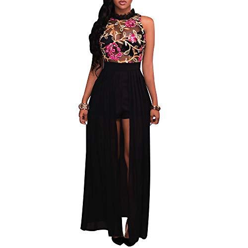 Women's Sheer Mesh Embroidery Maxi Dress Sexy Floral Hi Low Chiffon Romper Dress Fashion Sleeveless Halter High Split See Through Long Jumpsuit Dress Black ()
