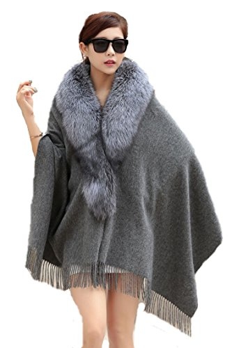 Genuine A Complete Fox Fur Cape and 100%Wool Poncho for Women by hand-made