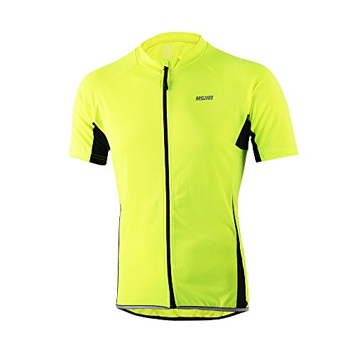 ARSUXEO Men's Slim Fit Cycling Jersey Short Sleeves Bike Bicycle MTB Shirt