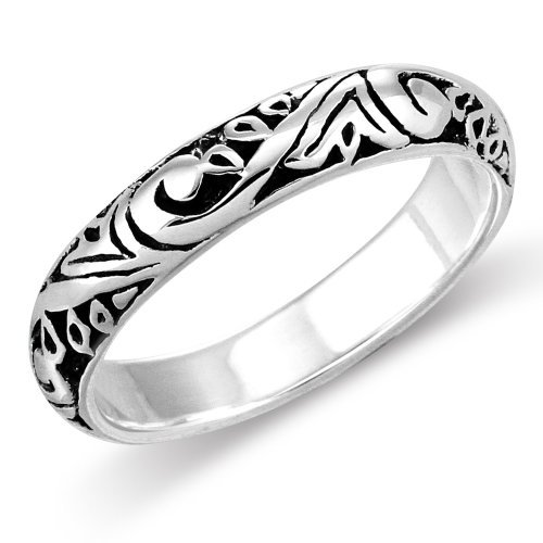 Sterling Silver Elegant Bali Style Filigree Scroll Design Everyday Band Ring (9.5) by Mimi Silver