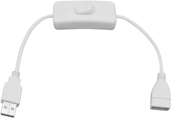 Image ofuu19ee 1 Unids 28Cm Cable USB Blanco Macho A Hembra con Interruptor De Encendido/Apagado Extensión De Cable Alternar para USB Lámpara USB Fan Power Line