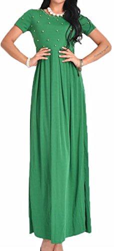 Jaycargogo Sleeve Beads Short Long Summer Swing Green Dress Women's OHBSU