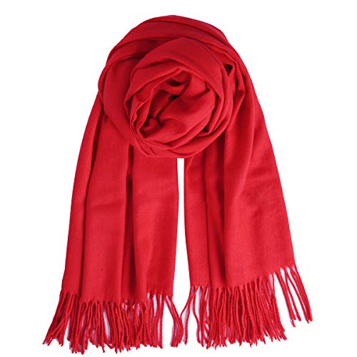 Red Winter Scarf - QBSM Womens Red Pashmina Scarf Winter Soft Evening Dresses Shawls Wraps