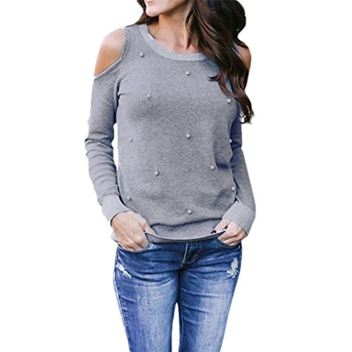en's Long Sleeve Beading T-Shirt Loose Casual Off Shoulder Tops Blous (Casual Loose Beadings)