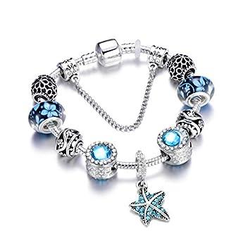 008553b72958 FGTYJ Estrella De Mar Cuelga El Corazón del Mar Charm Bracelet Women Fit  Cadena De La Serpiente Pandora Pulsera DIY Regalo De La Joyería para La  Boda  ...