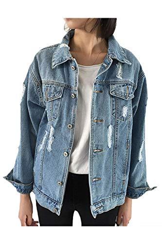 Femme Poches Jean Bleu Veste Taille Printemps Avec coloré En Automne Outwear Usée Casual Bleu Baggy S fw1UU4