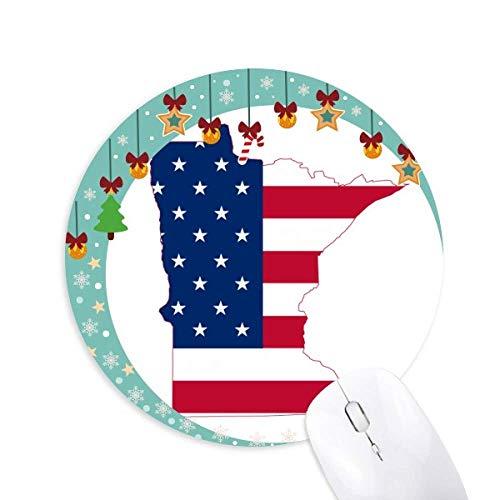 Minnesota USA Map Stars Stripes Flag Shape Mouse Pad Jingling Bell Round Rubber Mat