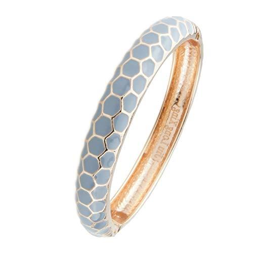 UJOY Vintage Cloisonne Bracelet Handcraft Multi-Colored Enamel Open Hinged Cuff Bangle Jewelry Gifts 55A48 Grey
