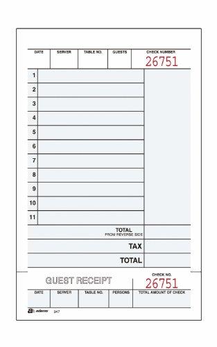 Adams Guest Check Unit Sets, 2-Part, Carbonless, White Bond/Tag, 4-1/4 x 6-3/4 Inches Detached, 250 Sets/Pack (947SWC)