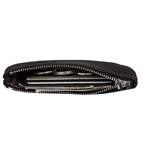 Befen Women Full Grain Leather Tripple Zip Crossbody Bag Crossbody Cell Phone Wallet Purse Bag Phone Wristlet (Black Olive Coin Purse) by befen (Image #3)