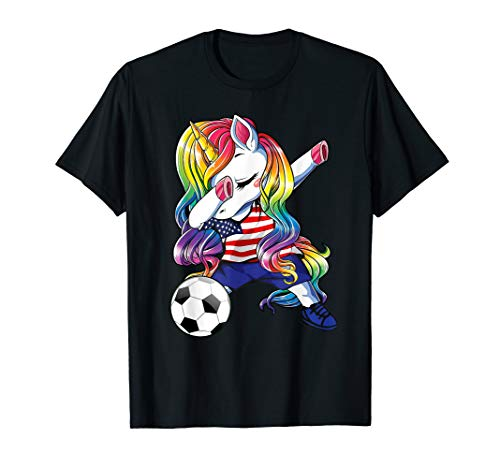 (Dabbing Unicorn Soccer United States Jersey 2019 Football T-Shirt)