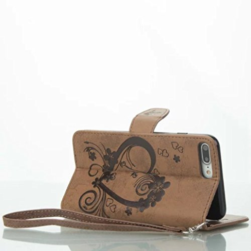 iPhone X Custodia, Cool Knurling Love Heart Flower Butterfly Lid Wallet Cover, Hanging Sling Credit ID Card Slot, TAITOU NEW PU Leather Ultralight Awesome Case For iPhone X Brown