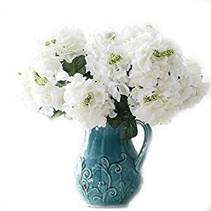 """Crt Gucy Artificial Flowers 18"""" Silk 6 Big Heads Fake Silk Hydrangea Bouquet for Wedding, Room, Home, Hotel, Party Decoration, White 13"""