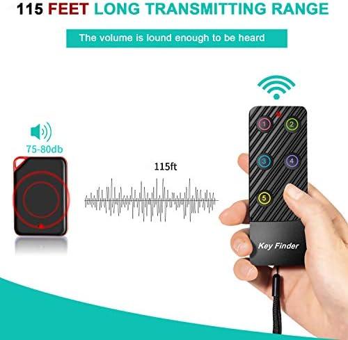 FindKey Wireless Key RF Locator Item Anti-Lost Tag Alarm Reminder Tracker Remote Finder,1 RF Transmitter 4 Receivers,Phone Pets Keychain Wallet Luggage Tracking Tracker Key Finder