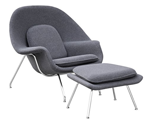 Fine Mod Imports Woom Chair and Ottoman, Gray