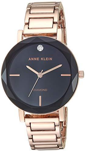 Bracelet Black Dial Watch Round - Anne Klein Women's Genuine Diamond Dial Rose Gold-Tone Bracelet Watch
