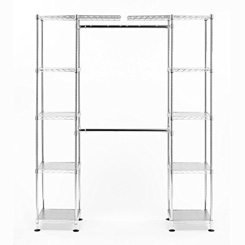 Seville Classics Expandable Closet Organizer System, UltraZinc (Closet Chrome Shelves)