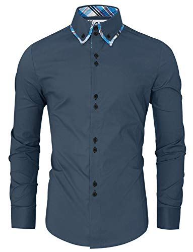 Tom's Ware Mens Trendy Slim Fit Inner Checkered Button Down Shirt TWNMS323S-STEELBLUE-US XL